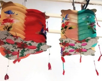 2 Vintage paper lanterns Chinese Blue Bird Flowers hand painted Waxed paper // Hong Kong 1950s