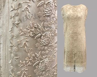 1920s Lace and Tulle Embroidered Dress
