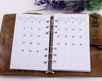 Calendar deposits Monthly Overview Personal 1M2S 2018-monthly Planner inserts personal 1M2P 2018 Filofax Ivory Girl