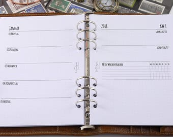 Calendar Inserts 2018 A5 1W2S tracker dotted-Planner inserts A5 1W2P 2018 Filofax Tracker dotted