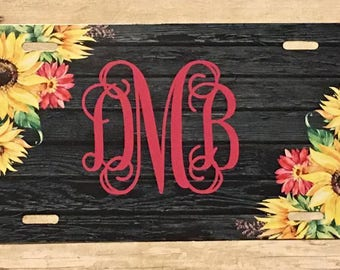 Sunflower Monogram Car Tag, Monogram Car Tag, Personalized Car Tag, Sunflower Car Tag, Sunflower Tag, Monogram Tag, Sunflowers,
