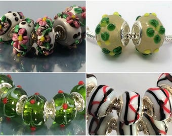 4 colors Silver Murano glass beads LAMPWORK fit European Charm Bracelet ,  Top quality glass bead with silver plated