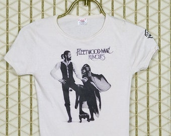 1970s Fleetwood Mac, Rumours t-shirt, Stevie Nicks, vintage rare cream white tee shirt, soft and thin, original OG