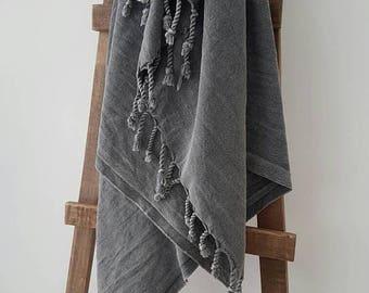 SALE Grey Fouta Towel - Tassel Throw - Camping Throw - Minimalist Bathroom Textile - Soft Stonewashed Cotton Towel - Spa Sheet - Grey Lovers