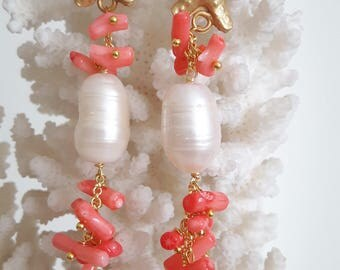 White Baroque pearl earrings, pink coral and starfish brass