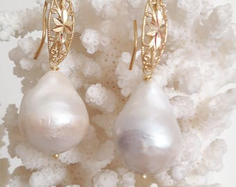 White and silver Baroque Pearl drop earrings