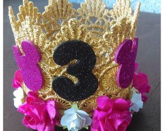 Minnie Mouse Crown, Birthday Crown, Princess Crown, floral crown