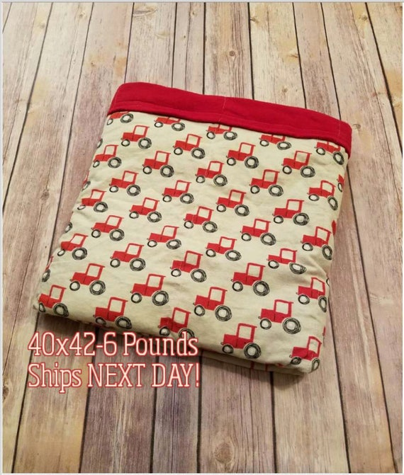 Tractor, 6 Pound, WEIGHTED BLANKET, Ready To Ship, 6 Pounds, 40x42 for Autism, Sensory, ADHD, Calming