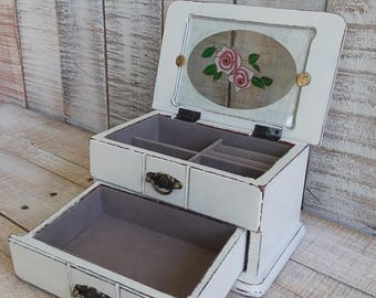 Small Shabby Chic Rustic Wooden Jewelry Box Painted Antique White and Distressed