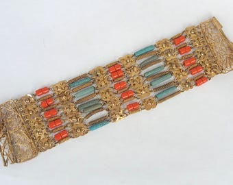 Egyptian Revival Bracelet 1920s Art Deco Filigree Blue Faience Faux Coral Beads Gold Tone UK