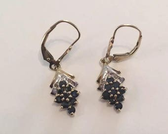 Vintage 10K Solid Yellow and White Gold Blue Sapphire & Diamond Drop Dangle Earrings