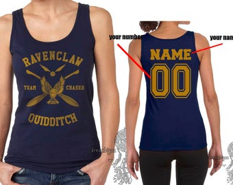 CHASER - Custom Back, Ravenclw Quidditch team Chaser YELLOW print on Female tank (Gildan Softstyle junior 64200L)