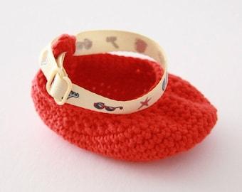 Booties crocheted orange - birth to 3 months