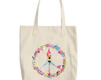 Peace, Pole, Love Pole Dance Canvas Tote Bag