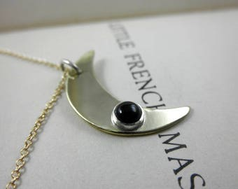 Crescent Onyx Pendant, Brass Crescent Moon Onyx Pendant, Onyx Pendant, July Birthstone, Black Onyx Necklace