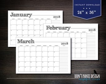 "Large 2018 Printable Monthly Wall Calendar - Rustic Calendar 24"" x 36"" -  Monthly Wall Calendar - 2018 Instant Download Calendar"