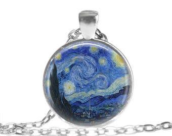 Van Gogh Gift Van Gogh Starry Night Pendant Necklace Starry Night Van Gogh Art Jewelry Gift for Art Lover Van Gogh Art Starry Night keychain