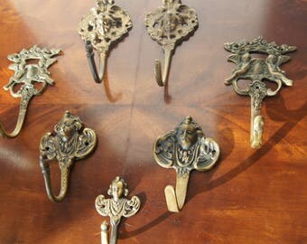 7 antique french bronze Cherub hooks Hangers