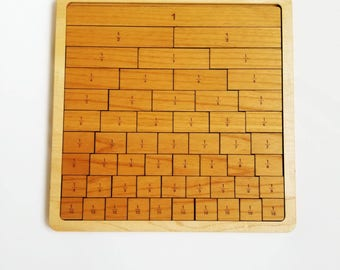 Fraction strips - fraction bars - Wooden fraction tiles - math manipulative - Montessori toy - teacher gift - gift for kids - Waldorf - stem