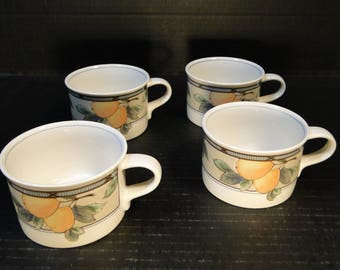 FOUR Mikasa Intaglio Garden Harvest Mugs Cups CAC29 set of 4 Cups EXCELLENT!