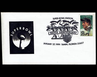 Florida, Tampa: Super Bowl XXV Silver Anniversary Jan 27, 1991 Superbowl Station, Tampa FL Event Cover lot #ev19910127-1