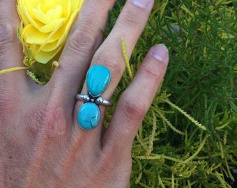 Turquoise Ring, Blue Turquoise Ring, Size 7 Ring, Statement Ring,  Can Be Sized Up
