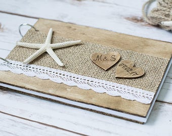 Beach Wedding Guest Book GuestBook Vow Book Pen Nautical Blue Rustic Guest Book Just Married Decoration Nautical Wedding