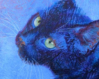 """Your Cat in Color with Texture & Feeling - 8""""x 8"""""""