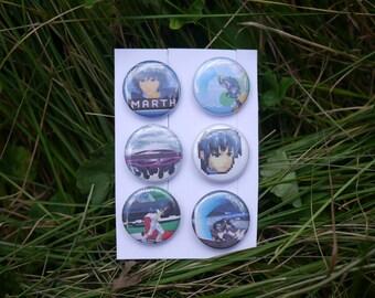 """Super Smash Bros Melee Marth Pack - 6 button set - 1"""" video game badges pins enamel pinbacks SSBM"""