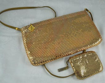Whiting and Davis gold mesh shoulder purse