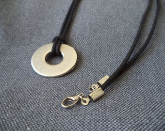 Waxed cotton necklace and silver round pendant