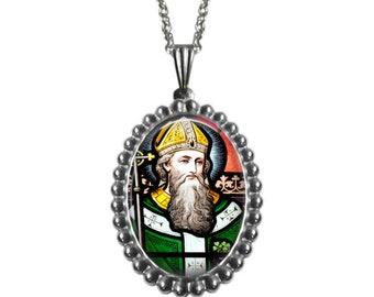 Saint Patrick Pendant in stainless steel-Catholic Jewelry, Catholic Necklace -Stainless Steel setting and chain - Irish Catholic Gift