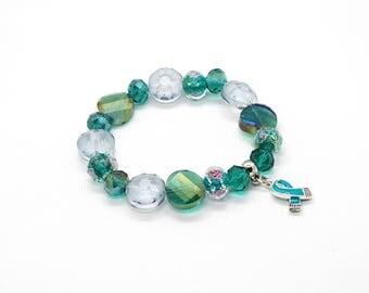 Teal Awareness Ribbon Bracelet, OCD Awareness PTSD Awareness, Ovarian Cancer, Ovarian Cancer Awareness, OCD Bracelet, Ovarian Cancer Jewelry