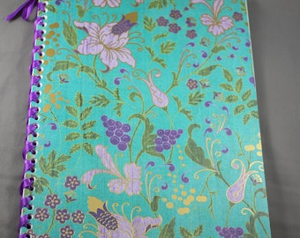 Purple and Teal Floral Notebook Bound with Ribbon