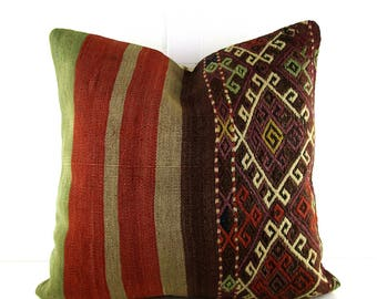 16x16 turkish kilim pillow cover tribal cushion taupe couch pillows decorative pillow unique throw pillow sofa