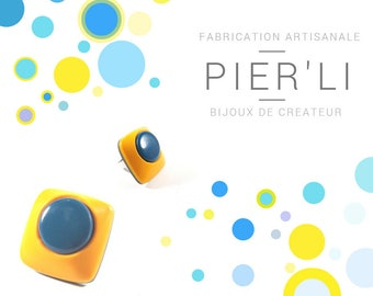 Yellow and blue square ring © PIER'LI