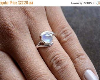 ON SALE 50% Rainbow Moonstone Cabochon Sterling Silver Ring, Stacking Ring, Rainbow Ring, 925 Silver Ring, Natural Gemstone Rings - SKU 435