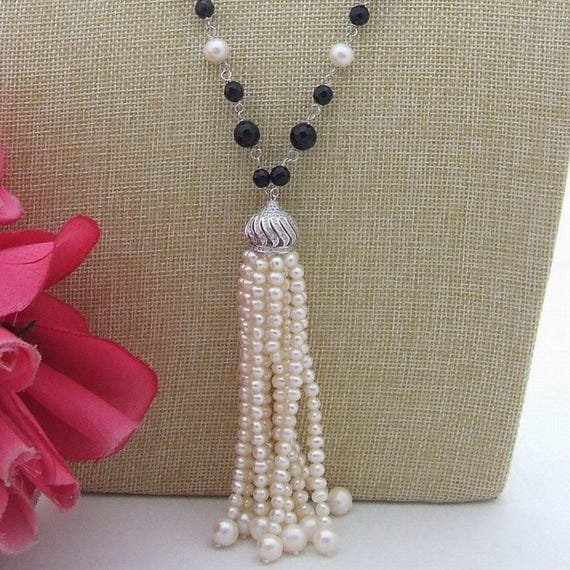 Beautiful white freshwater coin pearl and black onyx tassel necklace
