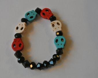 Red, White and Blue Skull Stretch Bracelet