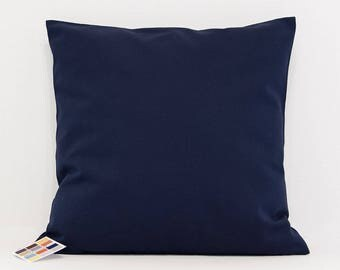 Navy Pillow Cover in Cotton Duck, Solid Navy Blue Pillow Cover, Solid Navy Accent Pillow Cover, Custom Sized Navy Pillow Cover