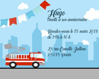 6 cards birthday invitation, Fireman-size 10 x 15 cm - printed and personalized
