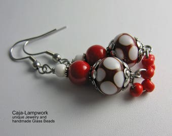 Red earrings with white dots, playful, Lampwork