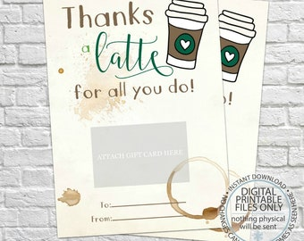 Editable coffee card holder thanks a latte valentine gift Thanks for all you do gifts