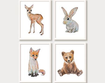 Woodland Nursery Decor Set of 4 Forest Animal Prints Baby Animal Prints Forest Watercolor Nursery Art Baby Girl Boy Bunny Bear Deer Fawn Fox