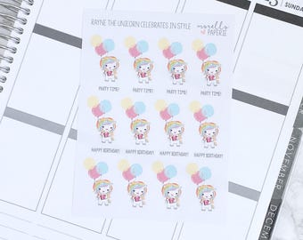 Rayne the Unicorn Celebrates in Style | Tales of Rayne the Unicorn | Planner Stickers