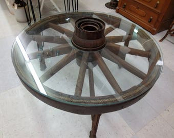 Antique Wagon Wheel Coffee Table Authentic