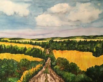 Road Through the Hills - Original Watercolor