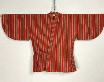 D922 Vintage 80s Japanese Haori Kimono Womens Wool Cardigan Jacket Orange