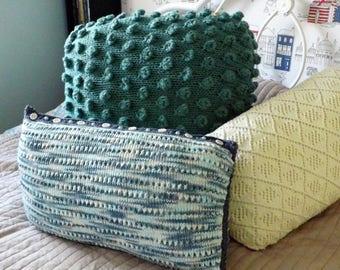 "Multi-Coloured Rectangle Cotton Cushion - Hand Made 14x24"""