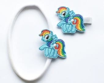 Rainbow Dash, My Little Pony inspired, my little pony hair clips, rainbow hair clips, horse hair clip, stocking stuffer
